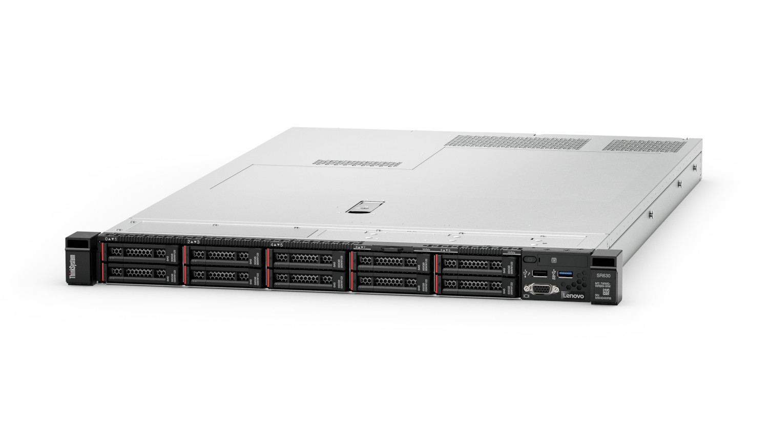 This image shows the Lenovo ThinkSystem SR630 in a front left-facing view