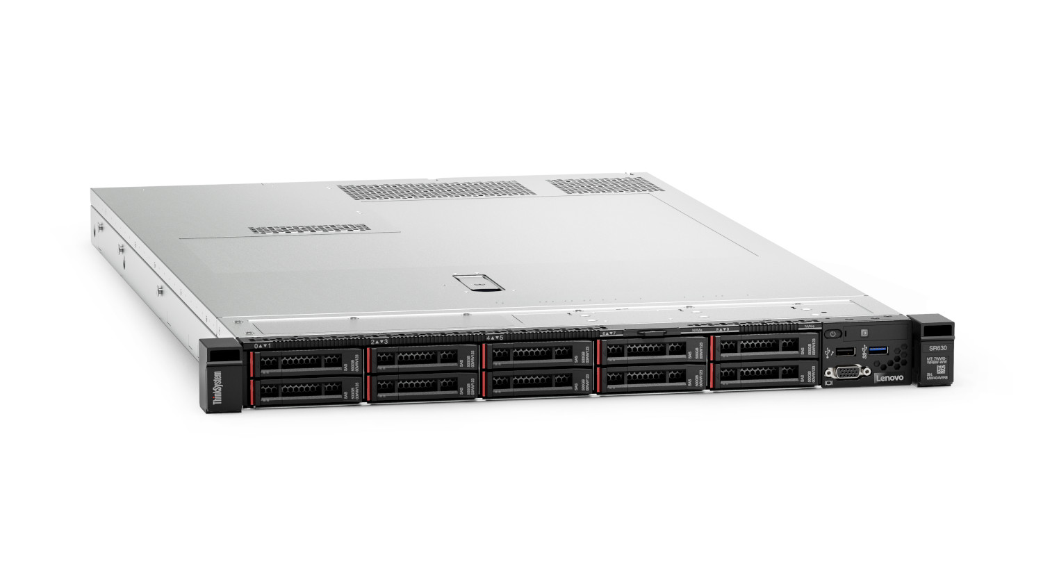 This image shows the Lenovo ThinkSystem SR630 in a front right-facing view